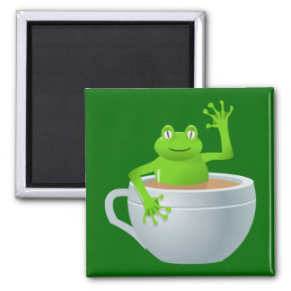 Frog in a Tea 2 Inch Square Magnet