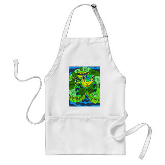 Frog in Bright Green and Blue Adult Apron