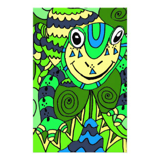 Frog in Bright Green and Blue Stationery
