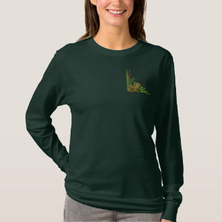 Frog in Cattails Embroidered Long Sleeve T-Shirt