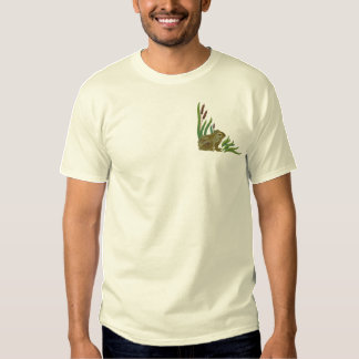 Frog in Cattails Embroidered T-Shirt