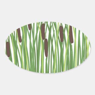 Frog in Cattails Oval Sticker