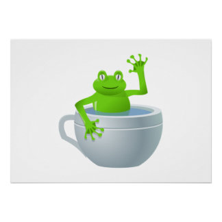 Frog in Cup Cartoon Posters