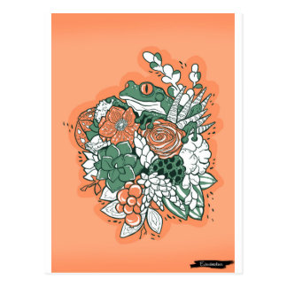 Frog in flower bouquet postcard