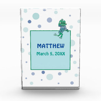 Frog in Jeans, Birthday, Polka Dots Acrylic Award