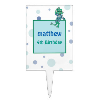 Frog in Jeans, Birthday, Polka Dots Cake Toppers
