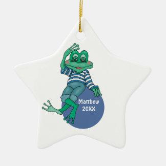Frog in Jeans, Birthday, Polka Dots Ceramic Ornament