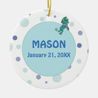 Frog in Jeans, Birthday, Polka Dots, Custom Name Ceramic Ornament
