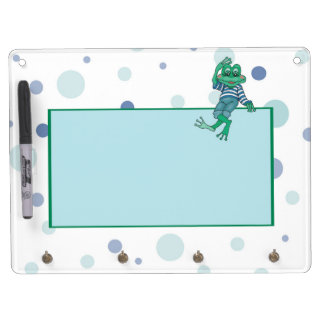Frog in Jeans, Birthday, Polka Dots Dry Erase Board With Keychain Holder