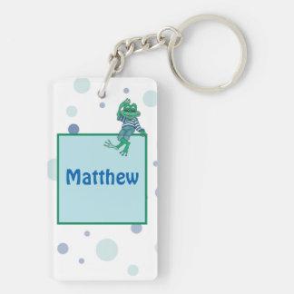 Frog in Jeans, Birthday, Polka Dots Keychain