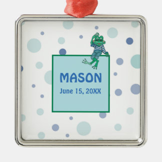 Frog in Jeans, Birthday, Polka Dots Metal Ornament