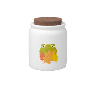 Frog In Leaves Candy Jars