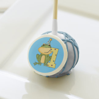 Frog in Party Hat 1st Birthday Cake Pops