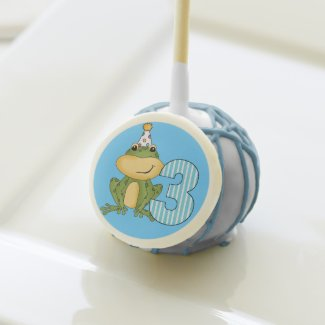 Frog in Party Hat 3rd Birthday Cake Pops