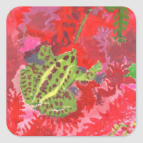 Frog in red bog stickers
