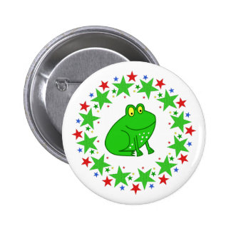 Frog in Stars Pinback Button