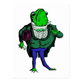 frog in the frack frog in tailcoat postcard