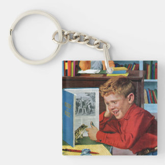 Frog in the Library Double-Sided Square Acrylic Keychain