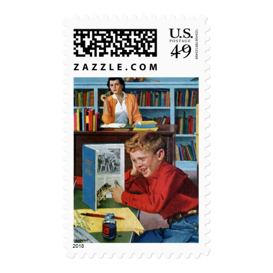 Frog in the Library Postage