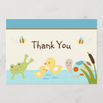 Frog In the Pond/Turtle Baby Shower Thank You Card