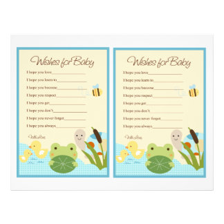 """Frog in the Pond/Turtle """"Wishes for Baby"""" notes Flyer"""