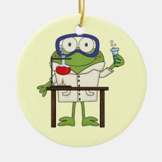 Frog in the Science Lab Ceramic Ornament