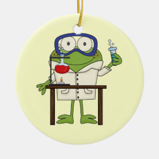 Frog in the Science Lab Double-Sided Ceramic Round Christmas Ornament