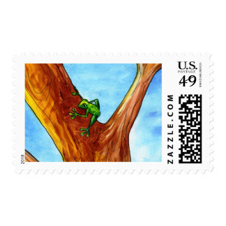 Frog in the tree postage