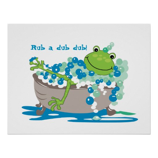 Frog In Tub Kids Bathroom Art Frog Bathroom Posters