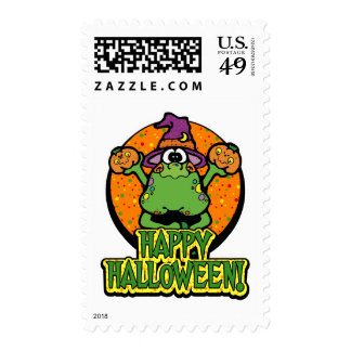 Frog In Witch's Hat Halloween Stamps