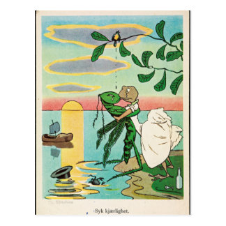 Frog Insect Romantic Seaside Kiss Vintage Postcard