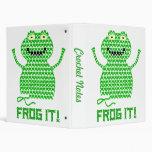 Frog It! Vector Crochet Frog 3 Ring Binder