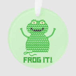 Frog It! Vector Crochet Frog (Green Background) Ornament