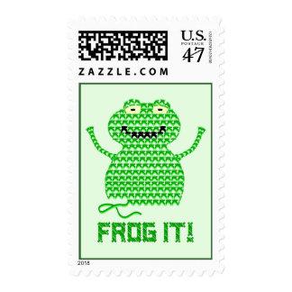 Frog It! Vector Crochet Frog (Green Background) Stamp