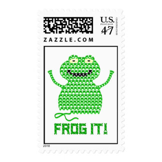 Frog It! Vector Crochet Frog Postage