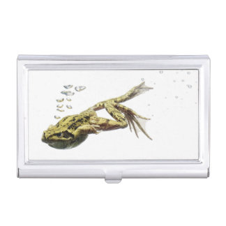 frog jumping and diving into the water business card holder
