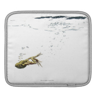 frog jumping and diving into the water iPad sleeve