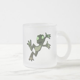 Frog Jumping 10 Oz Frosted Glass Coffee Mug