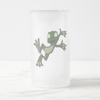 Frog Jumping 16 Oz Frosted Glass Beer Mug