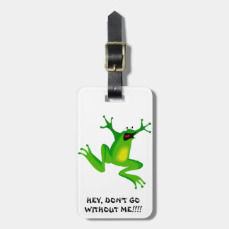 FROG JUMPING -  NEON GREEN FROG BAG TAG