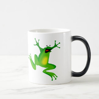 FROG JUMPING -  NEON GREEN FROG 11 OZ MAGIC HEAT Color-Changing COFFEE MUG