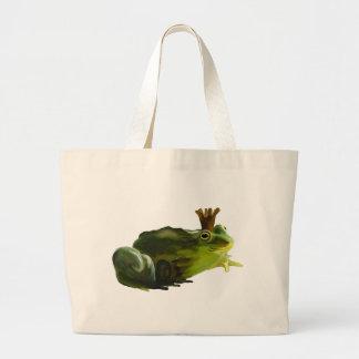 Frog king large tote bag