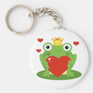 Frog King with Heart Keychain