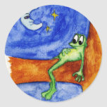 frog laying in tree classic round sticker