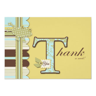 Frog Leaping and Stripe Print Thank You Card