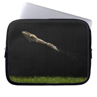 frog leaping off fresh green grass computer sleeve