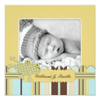 Frog Leaping over Stripe Print Birth Announcement