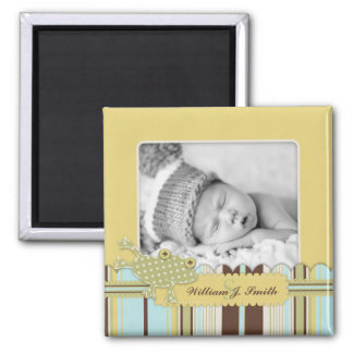 Frog Leaping over Stripe Print Birth Announcement 2 Inch Square Magnet