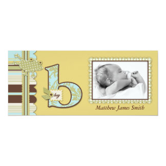 """Frog Leaping over Stripe Print Birth Announcement 4"""" X 9.25"""" Invitation Card"""