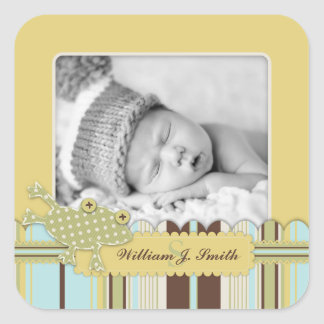 Frog Leaping over Stripe Print Birth Announcement Square Sticker